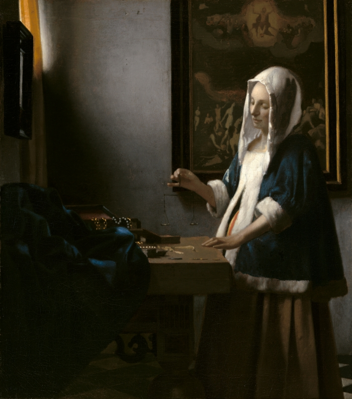 6 Johannes Vermeer (1632 to 1675), Woman With a Balance, c.1664, National Gallery of Art, Washington